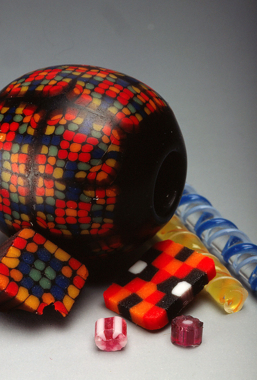 Closeup, bead and components from the workshop of the late Kyoyu Asao, Japanese contemporary beadmaker. RKL
