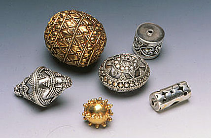 Silver and vermeil beads from Bali, Indonesia. RKL