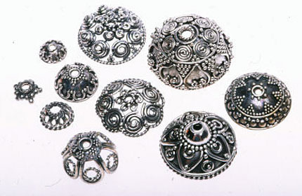Balinese sterling silver bead caps, assorted sizes. RKL