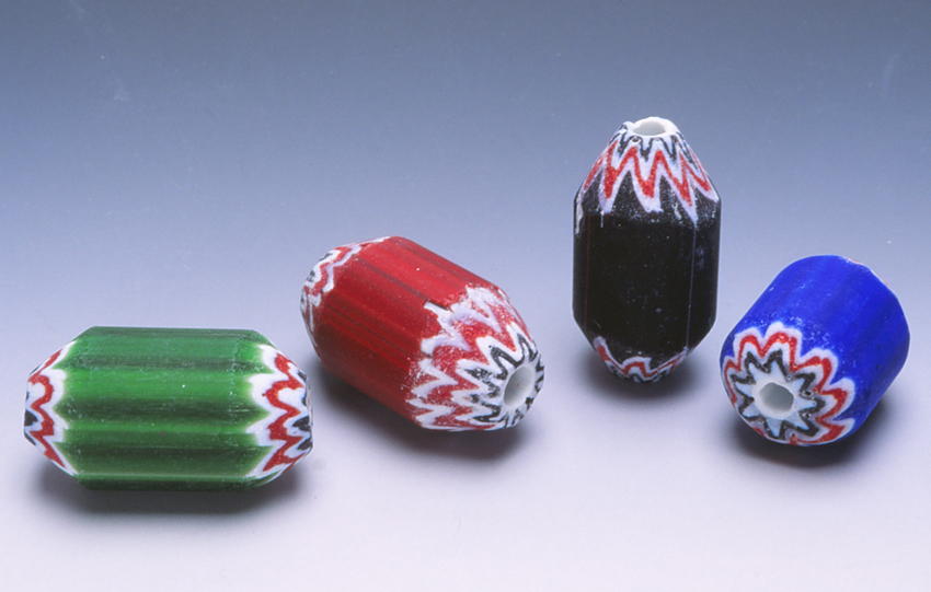 Indian chevron beads before they improved their technique. There are now also Chinese made chevron beads of good quality. RKL