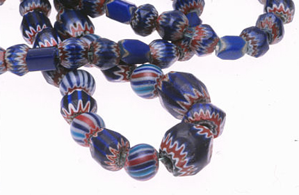 Small seven layer roughly-ground classic chevron beads from Peru mixed with striped chevrons. These beads were traded by the Spanish throughout the Americas in the 16th century. RKL