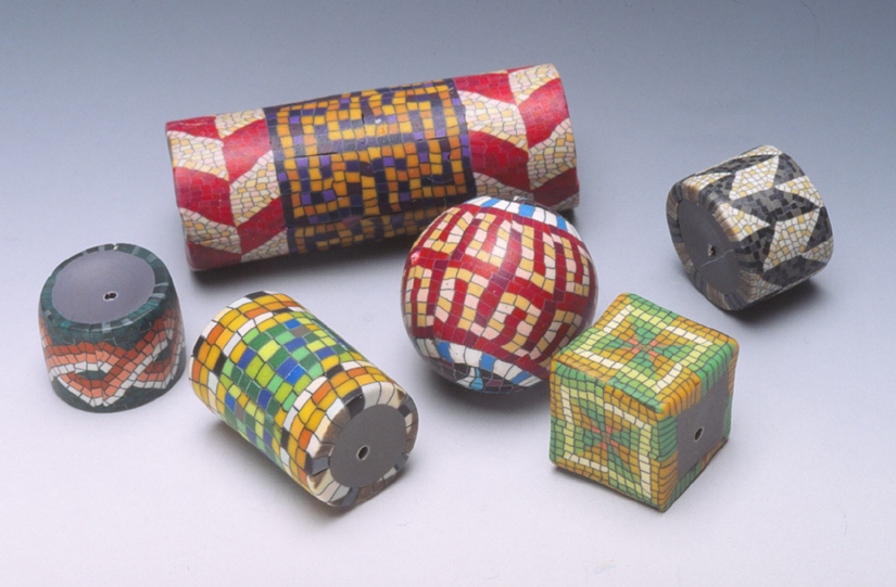Some early mosaic Fimo beads made by City Zen Cane. RKL