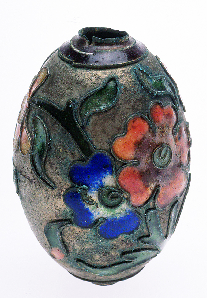 Antique Chinese open-work cloisonné bead. RKL