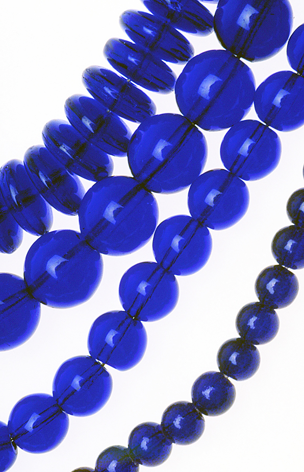 Cobalt blue pressed glass beads from the Czech Republic. RKL