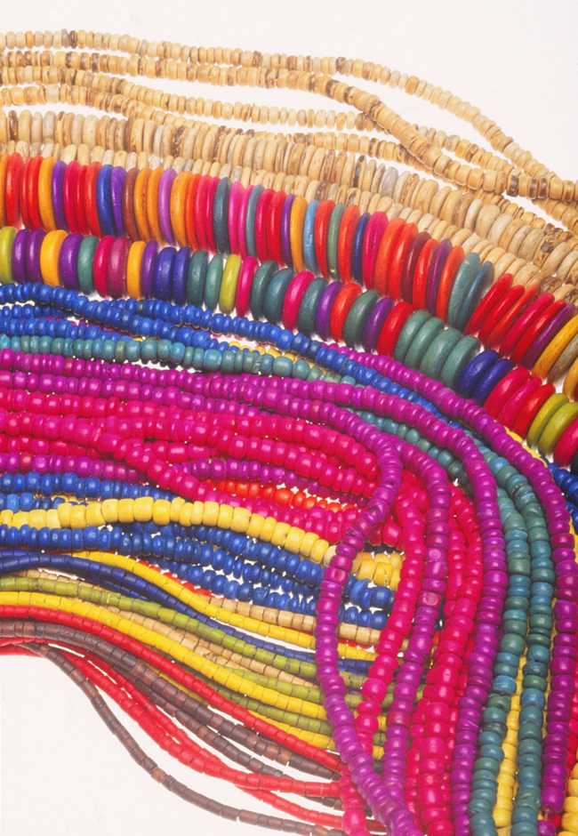 Dyed coconut shell heishi strands from the Philippines. RKL