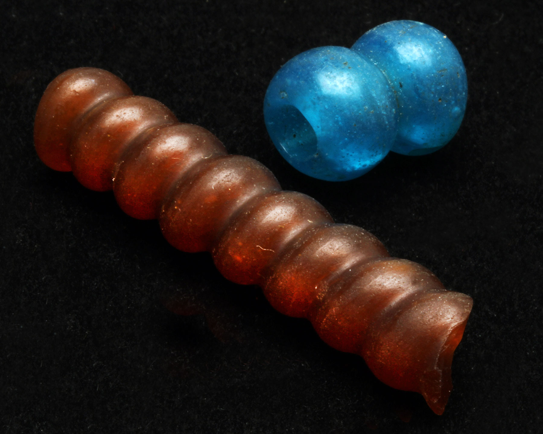 Vintage Chinese glass coil beads, exported to Burma, 1.4-4.4 cm long.  Courtesy of Elaine Lewis.  RKL