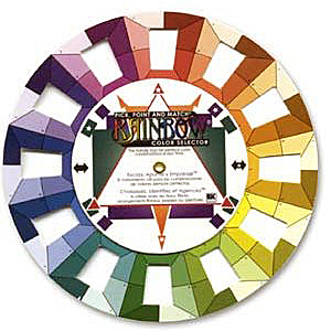 Color wheel used for finding harmonious color combinations with beads. CW