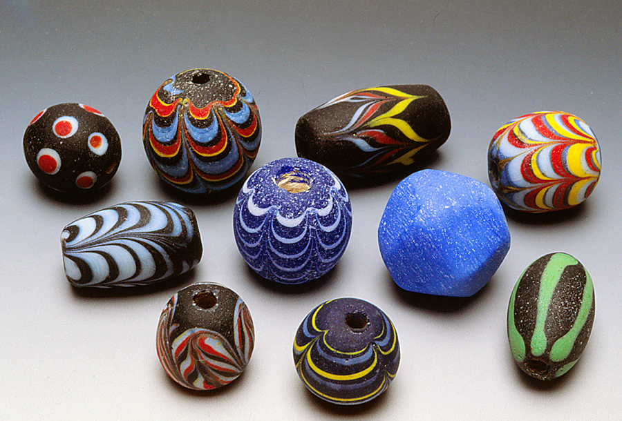 Contemporary Indonesian combed glass beads. RKL