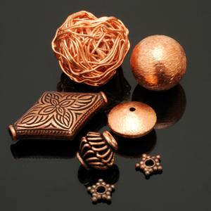 Assorted contemporary copper beads. CW