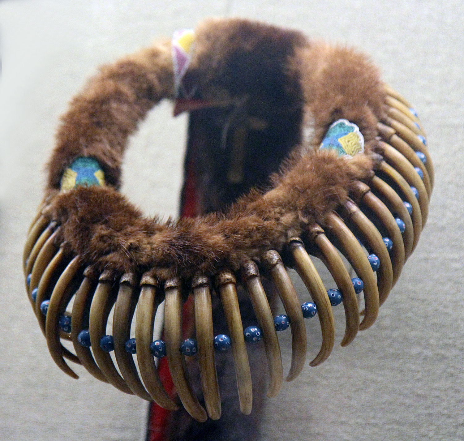 Portion of bear claw necklace, Mesquaki culture, Iowa, c. 1865. Note the Venetian glass trade beads used as spacers.  Courtesy of the Detroit Institute of Arts.  RKL