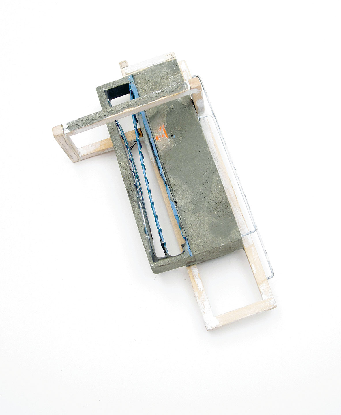 RECONSTRUCTED: FRAMED BROOCH of cement, sterling silver, resin, steel, pigment, thread, duct tape, powder coat, wood, and nickel silver, 10.2 x 7.6 x 5.1 centimeters, 2013.  Photograph by Seth Papac.