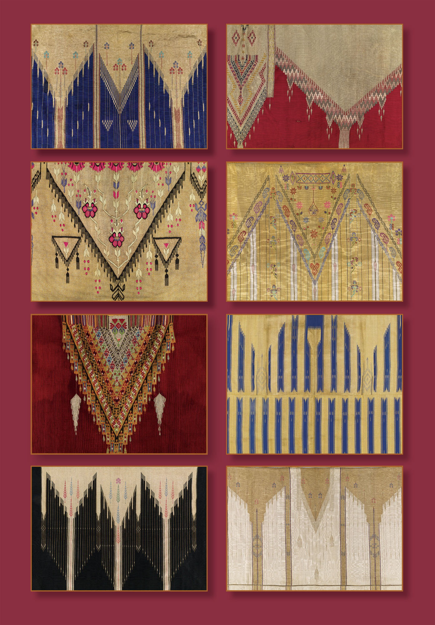 MAN'S CLOAK ( abaya ) of silk, cotton, metallic thread, weft-faced weave, slit tapestry technique, Ottoman Syria, early twentieth century. MAN'S CLOAK (abaya) of silk, cotton, metallic thread, weft-faced weave, slit tapestry technique, tablet weaving, Ottoman Syria, nineteenth century. WOMAN'S JACKET ( salteh ) of silk, cotton, metallic thread, weft-faced weave, slit tapestry technique, Ottoman Syria, late nineteenth to early twentieth century. MAN'S CLOAK (abaya) of silk, cotton, metallic thread, weft-faced weave, slit tapestry technique, early twentieth century. MAN'S COAT ( damir ) of wool, cotton, metallic thread, weft-faced weave, toothed tapestry technique, Bedouin peoples, Aleppo, Ottoman Syria, late nineteenth to early twentieth century. MAN'S CLOAK (abaya) of silk, cotton, metallic thread, weft-faced weave, slit tapestry technique, early twentieth century. MAN'S CLOAK (abaya) of silk, cotton, metallic thread, weft-faced weave, slit tapestry technique, early to mid-twentieth century. MAN'S CLOAK (abaya) of silk, cotton, metallic thread, weft-faced weave, slit tapestry technique, early twentieth century.