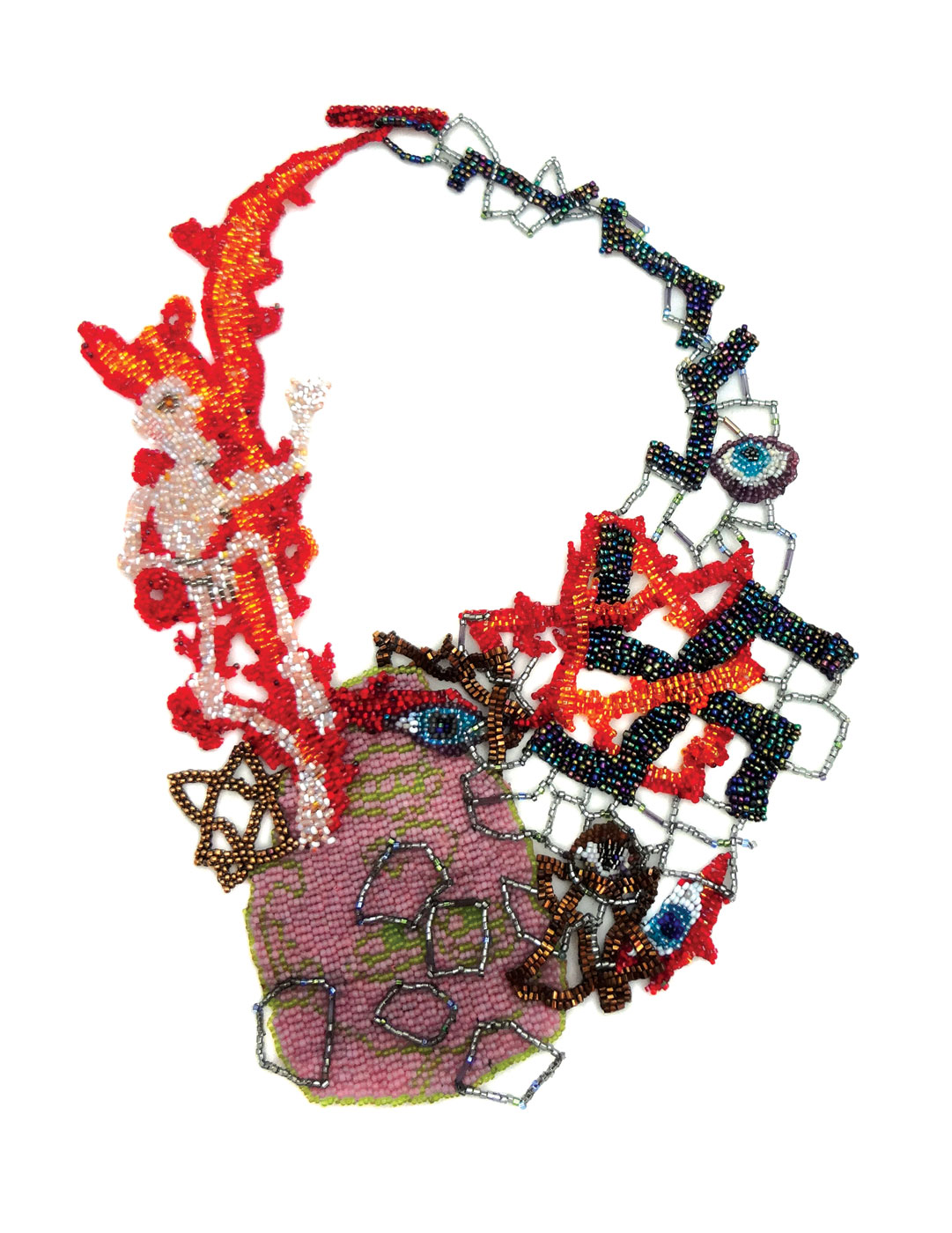 HOLOCAUST NECKLACE by Joyce Scott of peyote-stitched glass beads, threads, 30.5 x 19.7 centimeters, 2013.  Photograph by Emelee Van Zee. Photographs courtesy of Fuller Craft Museum .