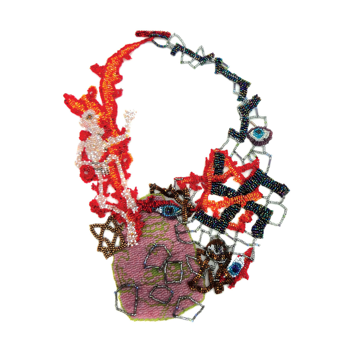 Uneasy Beauty:  HOLOCAUST NECKLACE by Joyce J. Scott of peyote-stitched glass beads, threads, 30.5 x 19.7 centimeters, 2013.  Photograph by Emelee Van Zee. Photographs courtesy of Fuller Craft Museum .