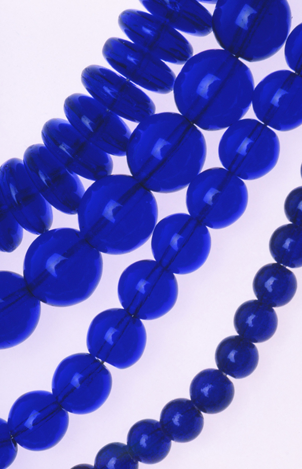 Various shapes of Czech pressed glass beads. RKL