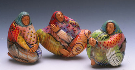 Polymer Village Women beads by Kathleen Dustin. RKL