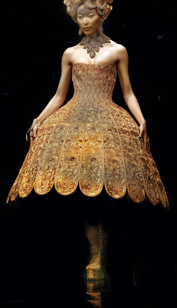 Guo Pei:  SAMSARA SERIES. Embroidered gown with wire and silk, twenty-four karat gold and silver-spun thread, and embellished with Swarovski sequin accessories, flat embroidery, 3D puff embroidery, 2006-2007.