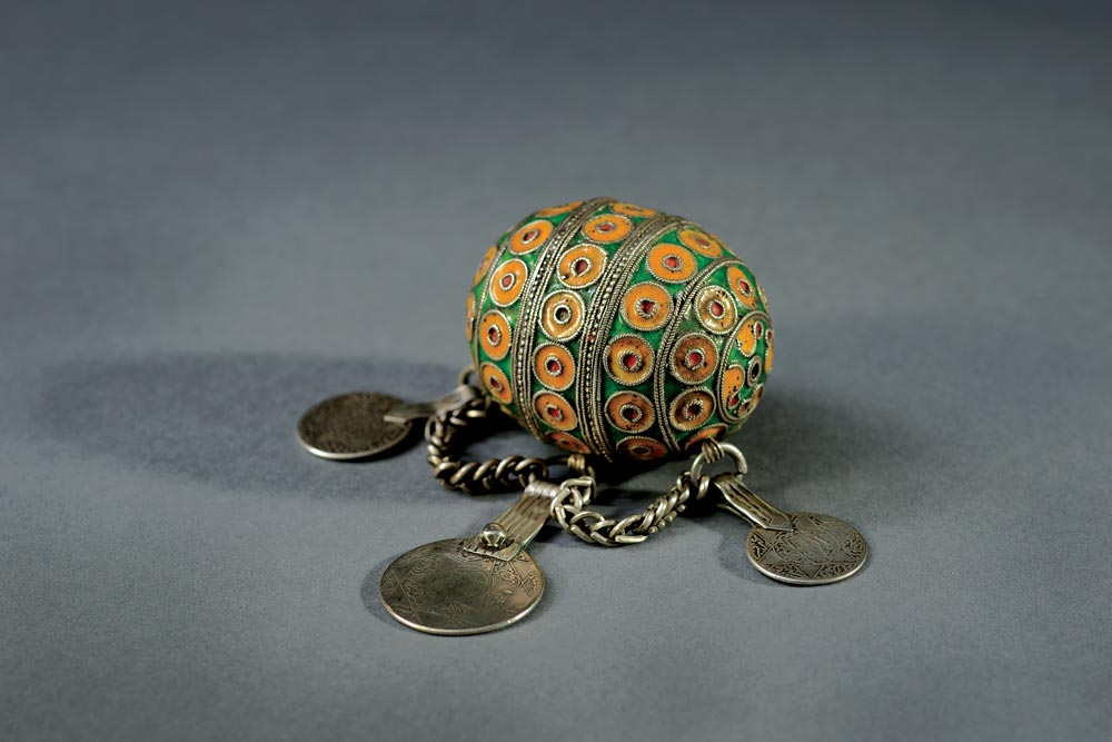 Museum for Islamic Art:  BEAD WITH COIN PENDANTS of silver, cloisonné enamel, coins, filigree, 12.0 x 7.0 x 5.5 centimeters, Western Anti-Atlas, Morocco, nineteenth century.  Images courtesy of the Museum for Islamic Art, Jerusalem. Photographs by Shay Ben Efraim, except where noted.