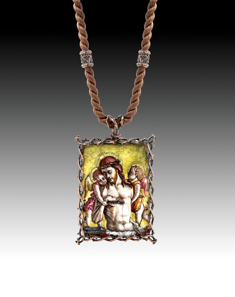 Saul Bell Design Award:    GAREN GARIBIAN: The Endless Love Necklace of copper, fourteen karat rose gold, handpainted miniature limoges enamel over copper plate, and silk cord. California.  Second Place Ename l.  Photograph courtesy of Rio Grande.