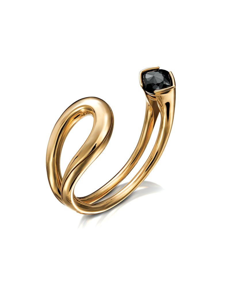 Saul Bell Design Award:    TIMO KRAPF: Open Spiculum Cuff of eighteen karat yellow gold and black diamond. New York.  Emerging Jewelry Artist Twenty-Two Years of Age or Younge r.  Photograph courtesy of Rio Grande.
