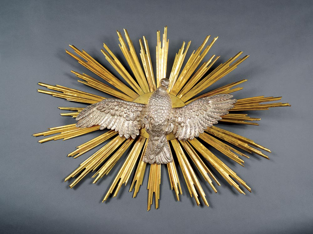 DOVE REPRESENTING THE HOLY SPIRIT  of silver and gilt copper, repoussé, chasing, Vienna, Austria, 1716.  Photograph by Shay Ben Efraim.