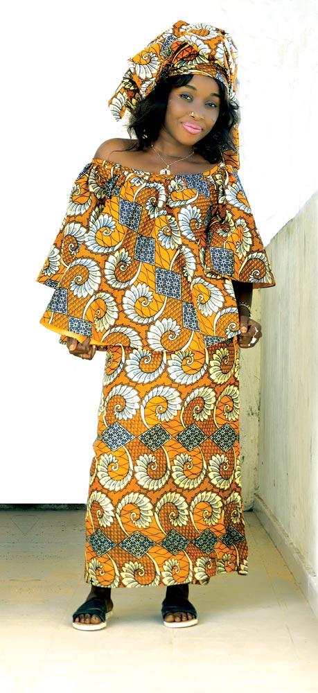KEN TRAORÉ, DESIGNER. KENYA'S STYLE:   Pagne et marinière  of African-print cloth, 2016.  Photograph by Leslie W. Rabine.