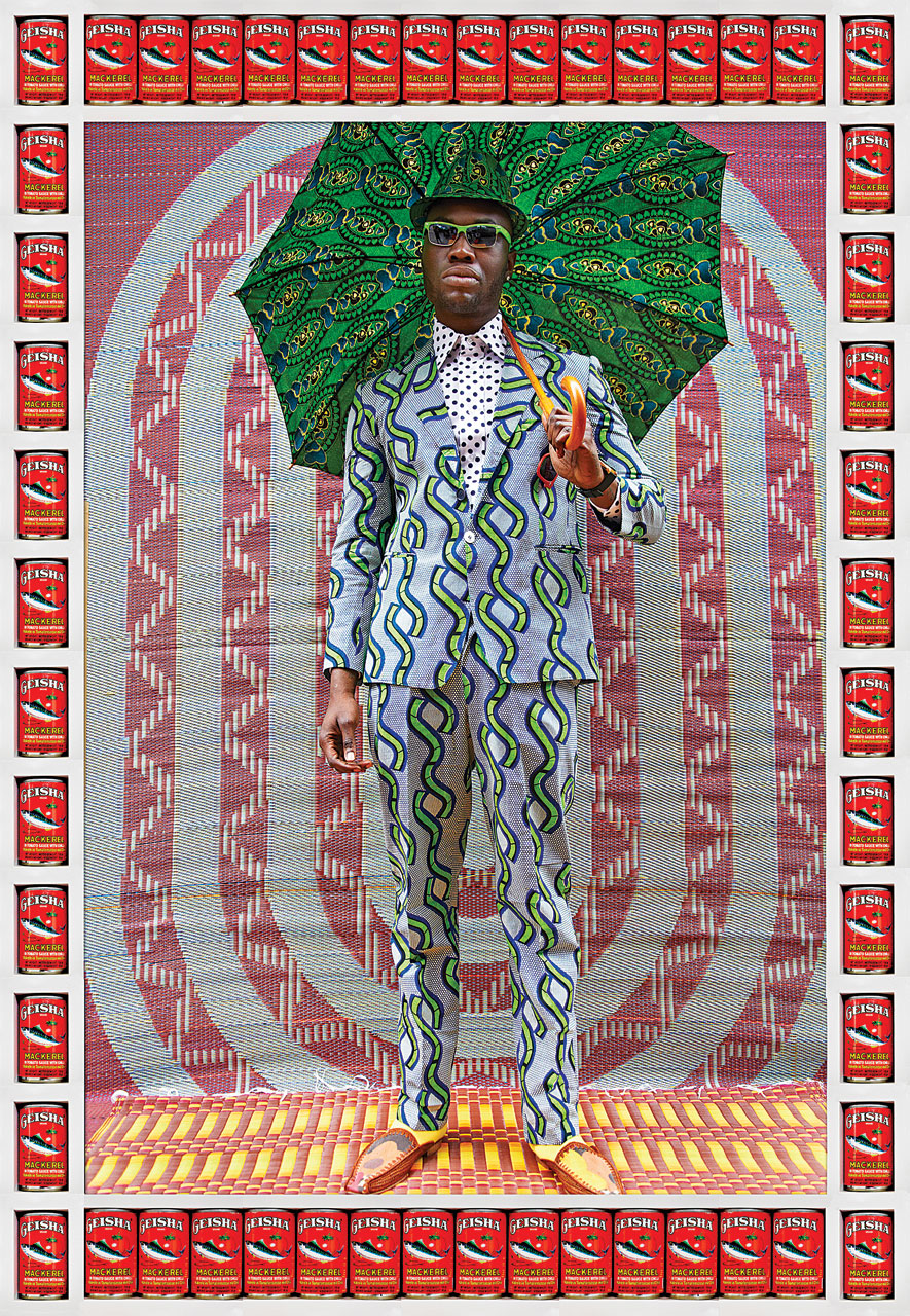 HASSAN HAJJAJ.   Afrikan Boy,  2012,  My Rock Stars Volume 2  series; Metallic Lambda print on 3mm Dibond in wood frame with Geisha maquereau tins, 136 x 93 centimeters.  Private Collection .