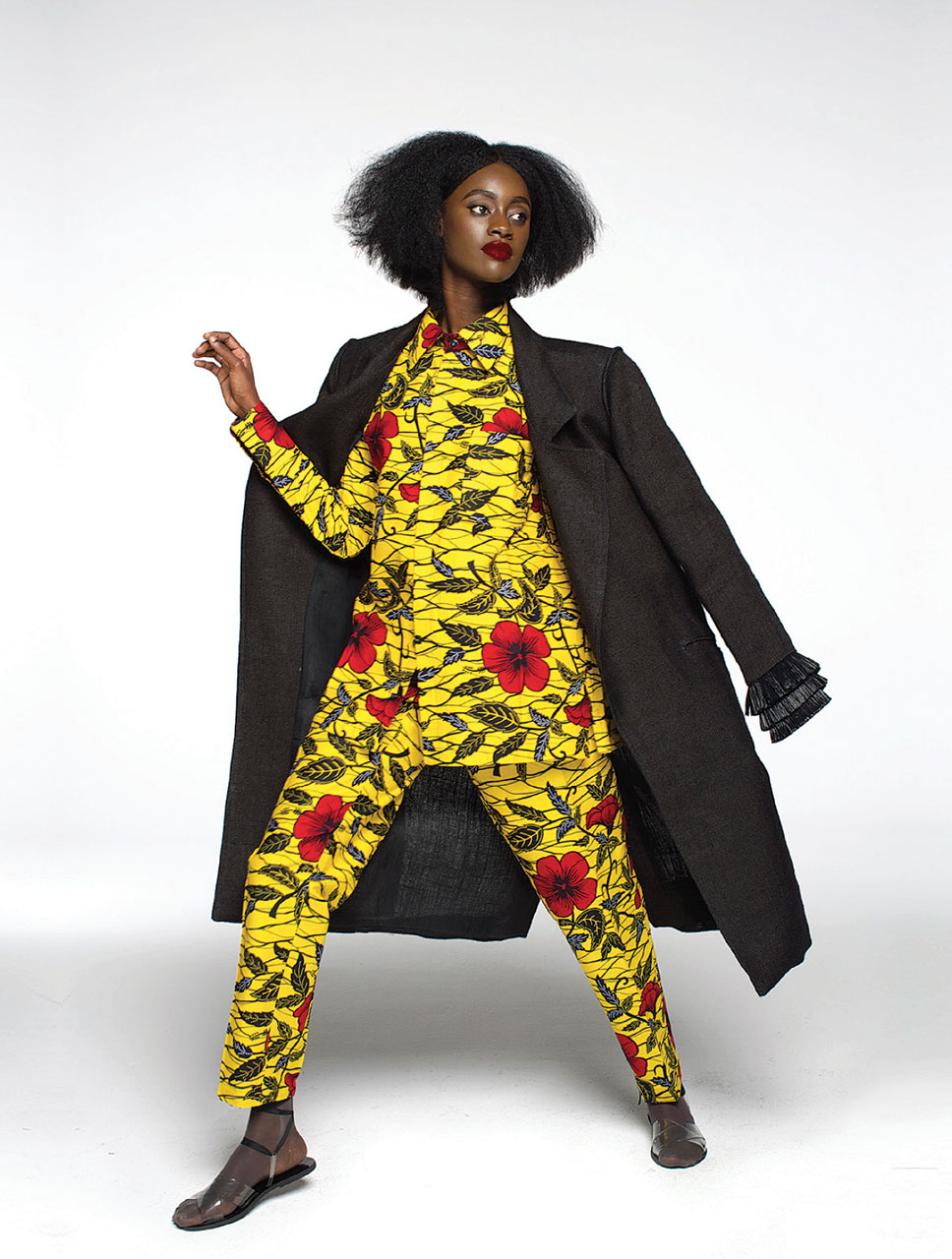LOZA MALÉOMBHO, DESIGNER. COORDINATED TOP AND BOTTOM  from the designer's fall/winter 2015 lookbook.  Photograph by Daniel Sery. Image © Loza Maléombho.