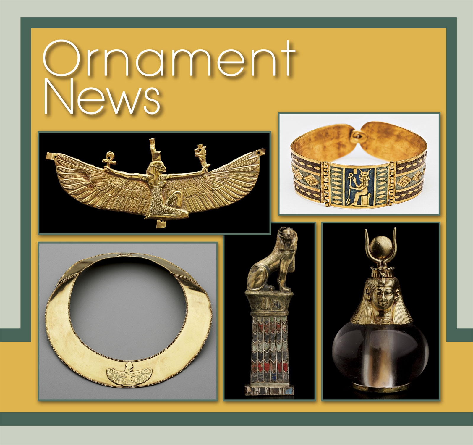 THE MUSEUM OF FINE ARTS, BOSTON:  Shown from left to right, top to bottom: Winged Isis pendant of gold; gold bracelet with image of Hathor; forged gold collar with Isis; pendant with ram-headed sphinx; Hathor-headed crystal pendant.  Photographs courtesy of the Museum of Fine Arts, Boston.