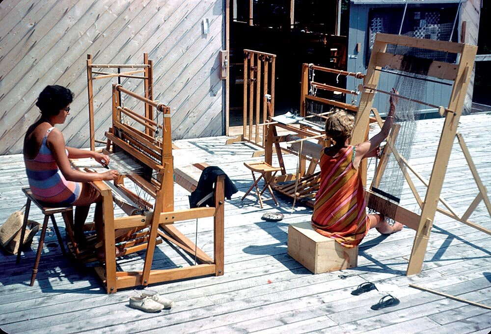Haystack Students Barbara Wallace And Nancy Bohlin  on the Weaving Deck, 1961.