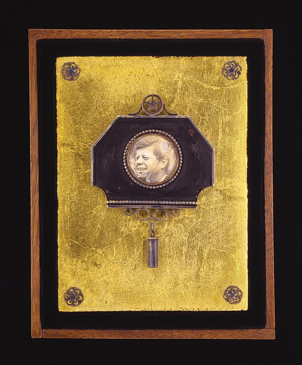 J. Fred Woell , November 22, 1963, 12:30 P.M. of copper, silver, brass, gold leaf, photo, wood, 1967.