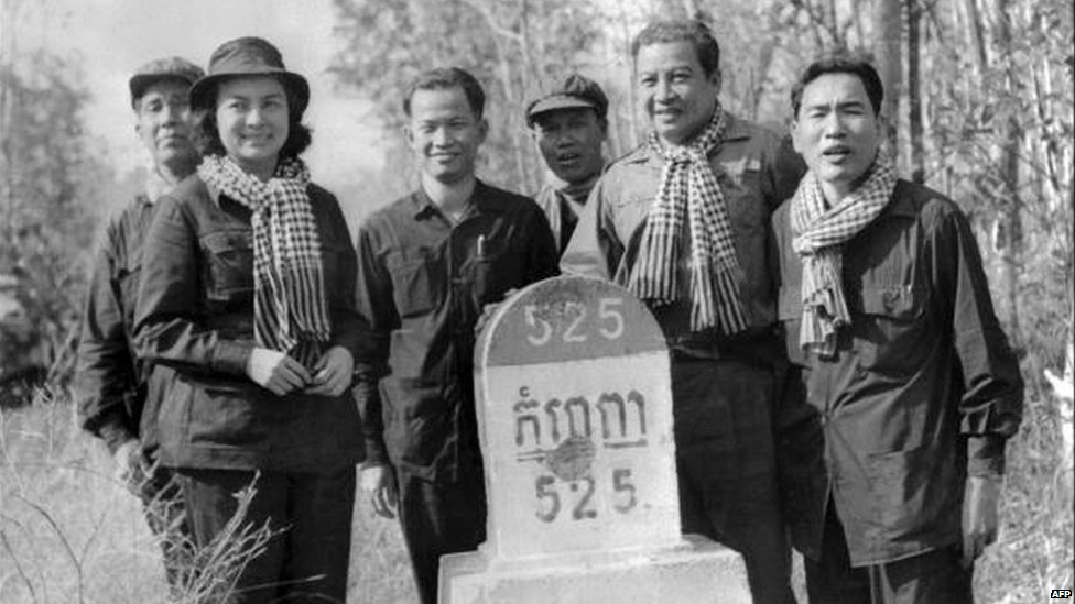 Prince Sihanouk (second from right) with Khmer Rouge Leaders shortly after having endorsed their cause