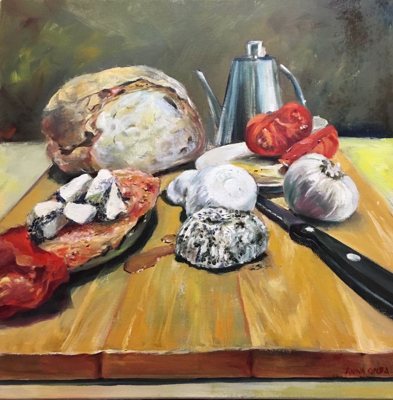 Kisra Hobz, Oils on Canvas, 50x50cm