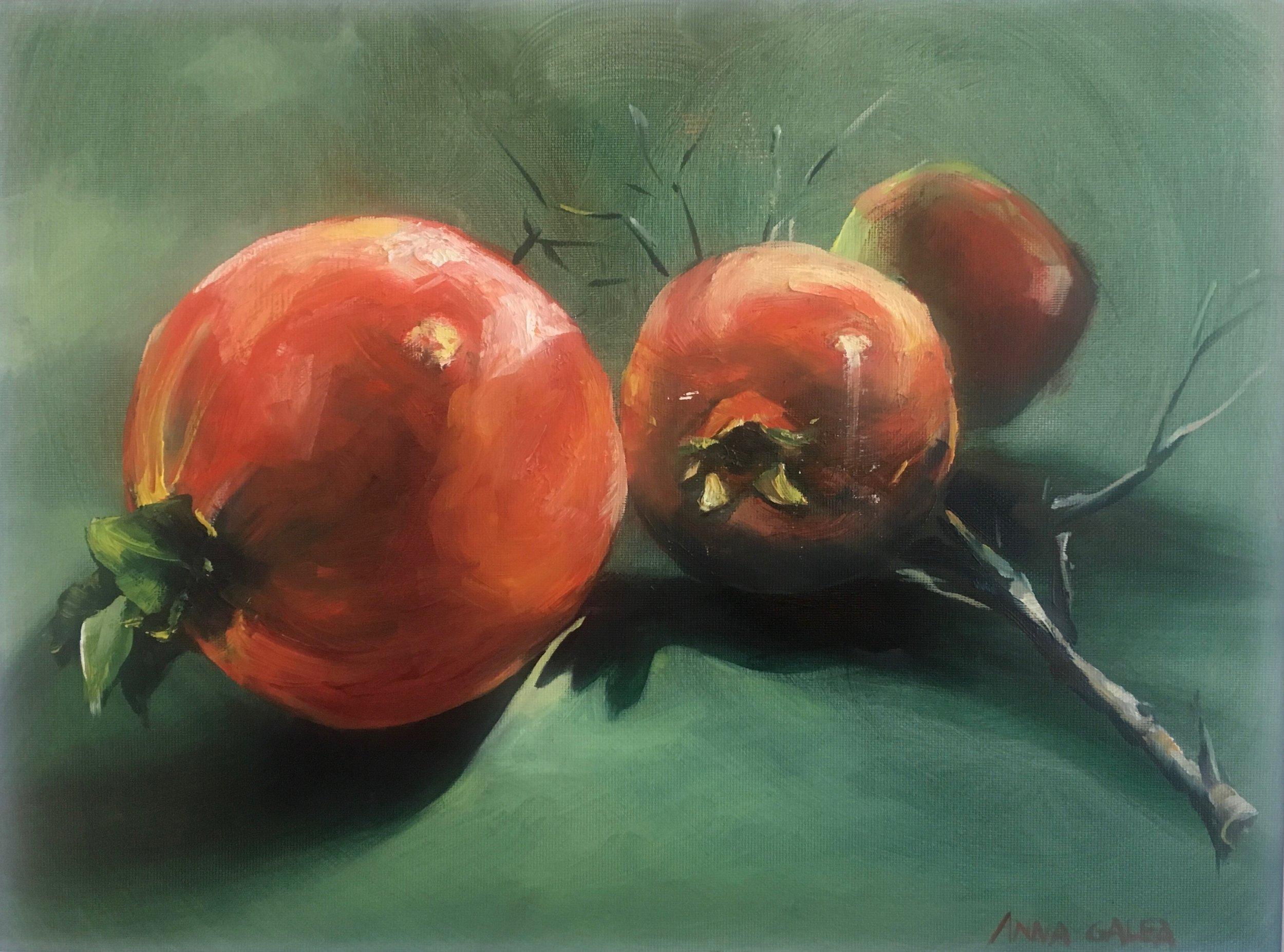 Pomegranates, Oils on Canvas, 30x40cm