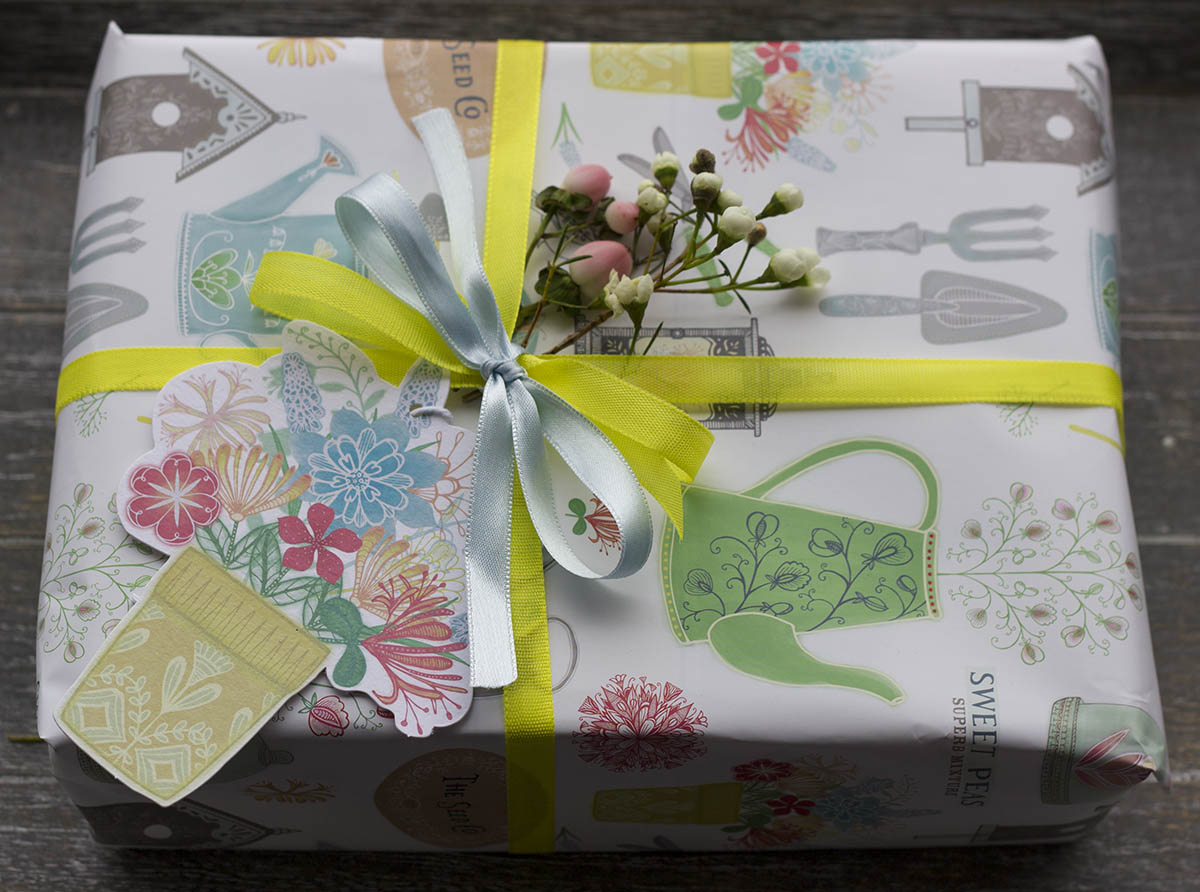 Vintage garden wrapping paper