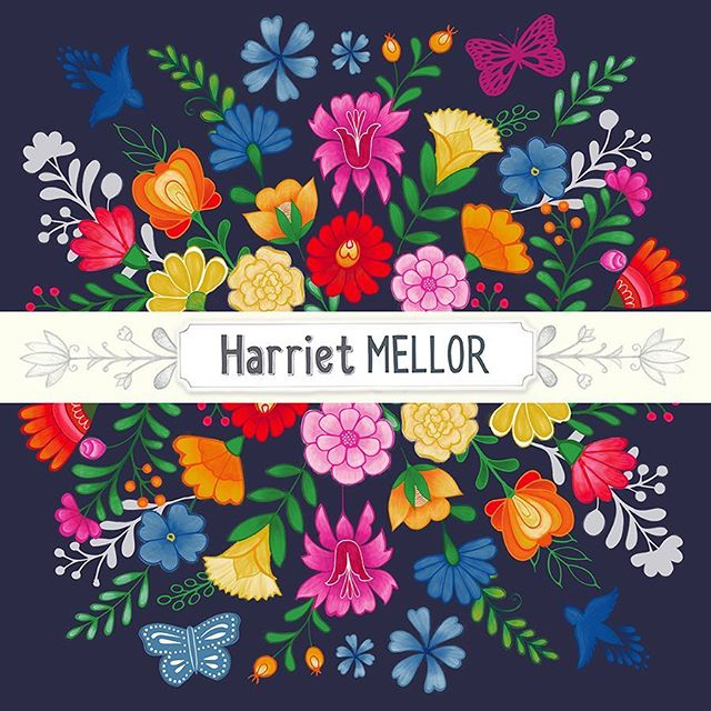 I am in the process of updating my website and all my logos in preparation for Blueprint 2. Here is a version with a dark background! #blueprintshow #blueprintshows #artlicensing #createeveryday #floral #dscolor #flashesofdelight #illustration #harrietmellor