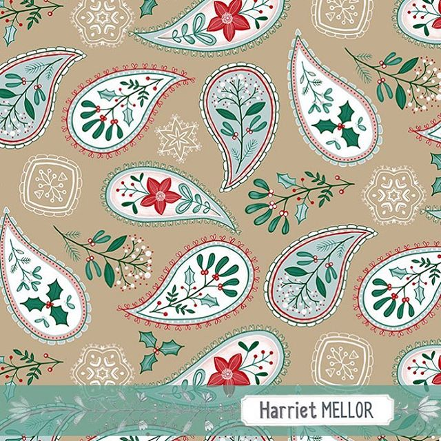Christmas paisley #christmas #paisley #surfacepattern #artdaily #pattern #holidaydecor #creativityfound #inspireddaily #winterfloral #dsfloral #prettyflorals #harrietmellor