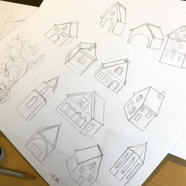 Sketching new stuff  #sketch #sketchbook #pencil #makearteveryday #illustration #wip #surfacedesign #surfacepattern #create #creativity #house #harrietmellor