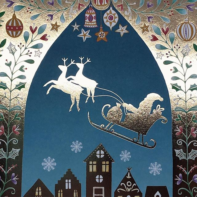Father Christmas came ! #artlicensing #holidays #surfacepattern #gold #santa #happyholidays #folkart #greetingscard #christmas #harrietmellor