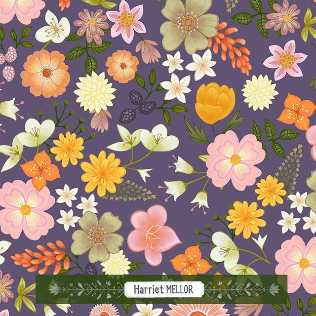 A pattern from yesterday's bouquet. #dsflowers #flowers #floral #artlicensing #pattern #surfacepattern #illustration #makearteveryday #bohostyle #vintage #flores #blumen #homedecor #harrietmellor
