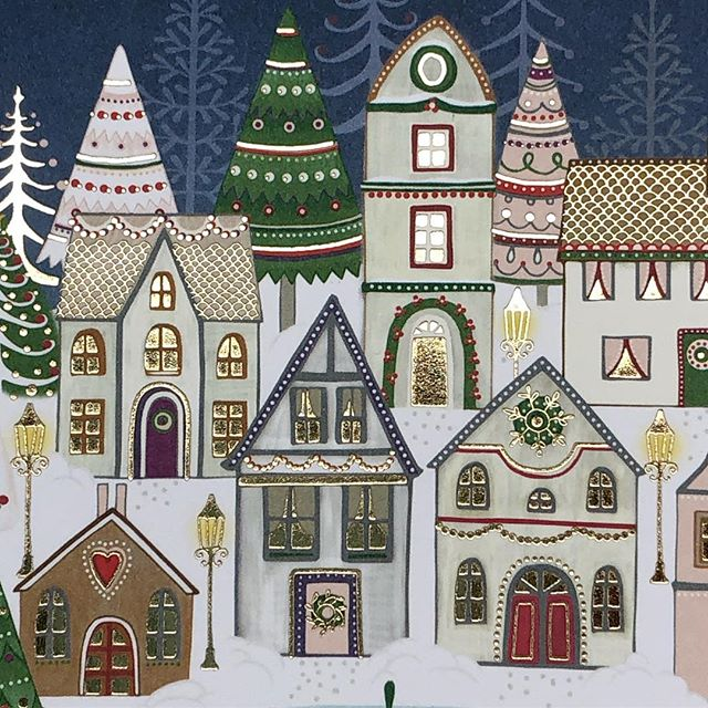 A detail of one of my Christmas designs for @editor.giving.joy  #christmas #holidays #winter #artlicensing #illustration #surfacepattern  #greetingcards #harrietmellor