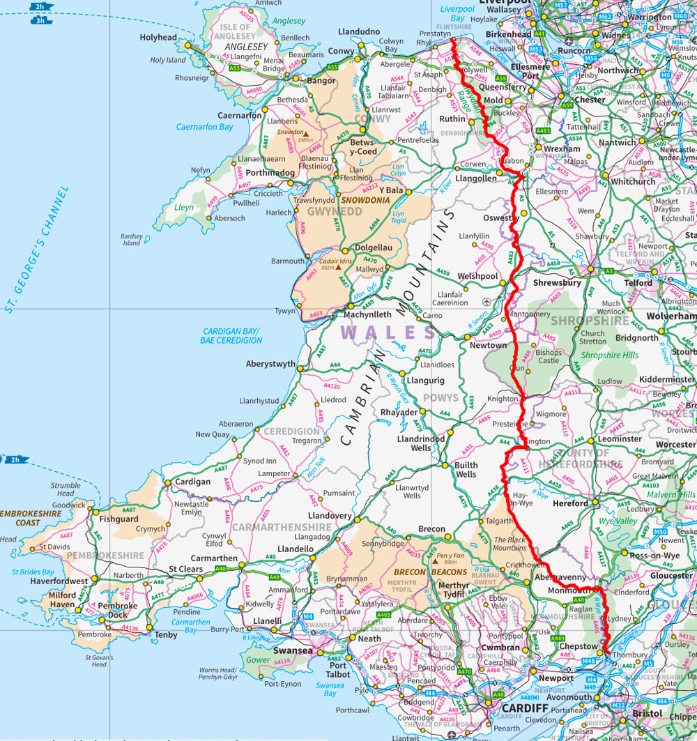 Offa's Dyke Path, - which opened in 1971 as one of Britain's longest national trails, is a 177-mile coast-to-coast trek along Offa's Dyke, the UKs largest ancient monument, from the Severn Estuary at Sedbury near Chepstow to the Irish Sea in Prestatyn. The route passes through 8 counties and crosses the England / Wales border over 20 times.Along the way are a succession of historic border towns and attractive villages. The walled towns, castles, and fortified remains are not only visually stunning but also of great historical interest. A few of the archaeological highlights include Chepstow Castle, the first stone fortress built in Wales; Tintern Abbey on the banks of the River Wye, one of the greatest monastic ruins of Wales; and the spectacular Powis Castle at Welshpool.