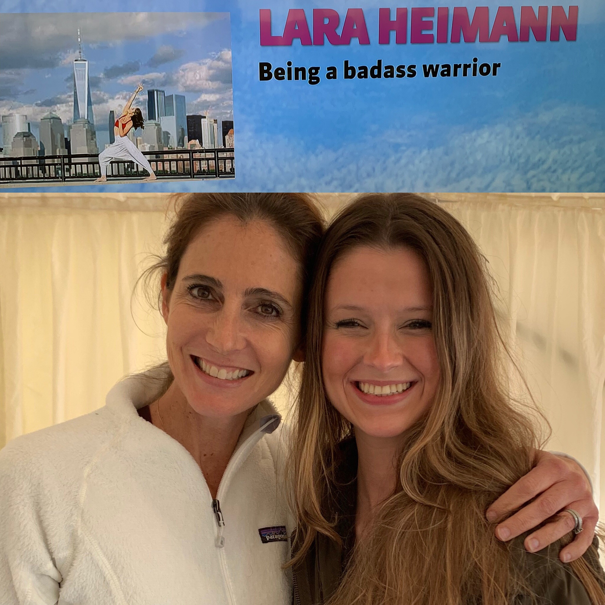 Here she is with one of her old yoga teacher training students, Michaela, who was responsible for inviting her to the festival.