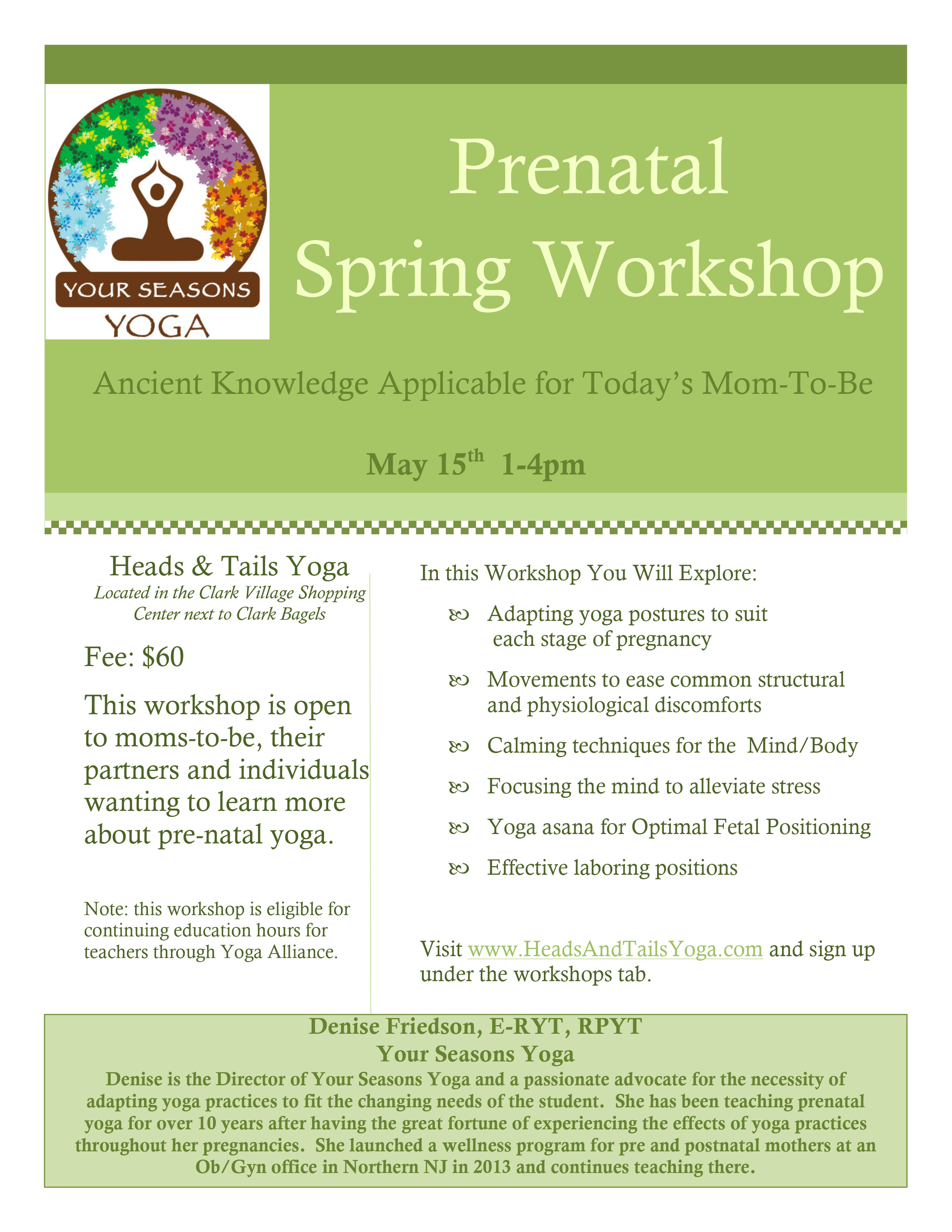 Prenatal Spring Workshop Flyer