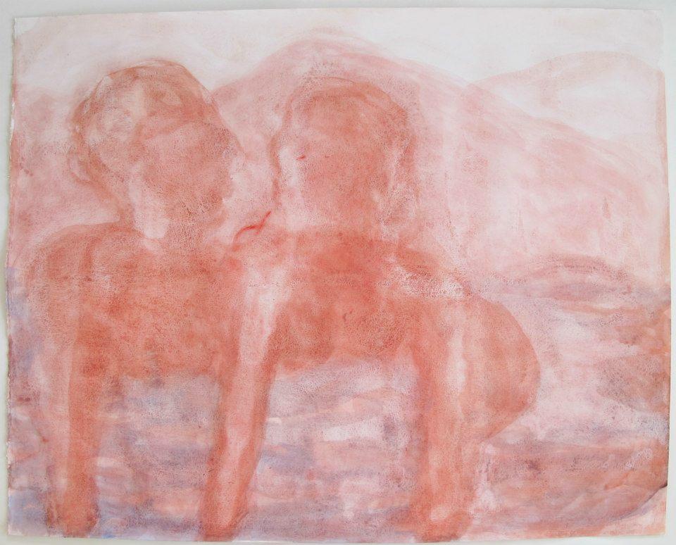 """Dawn, acrylic on paper, 32"""" x 40"""", 2015"""