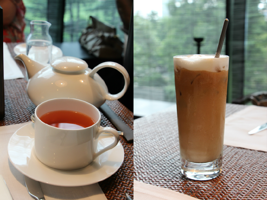 Left: Breakfast tea; Right: Iced Latte