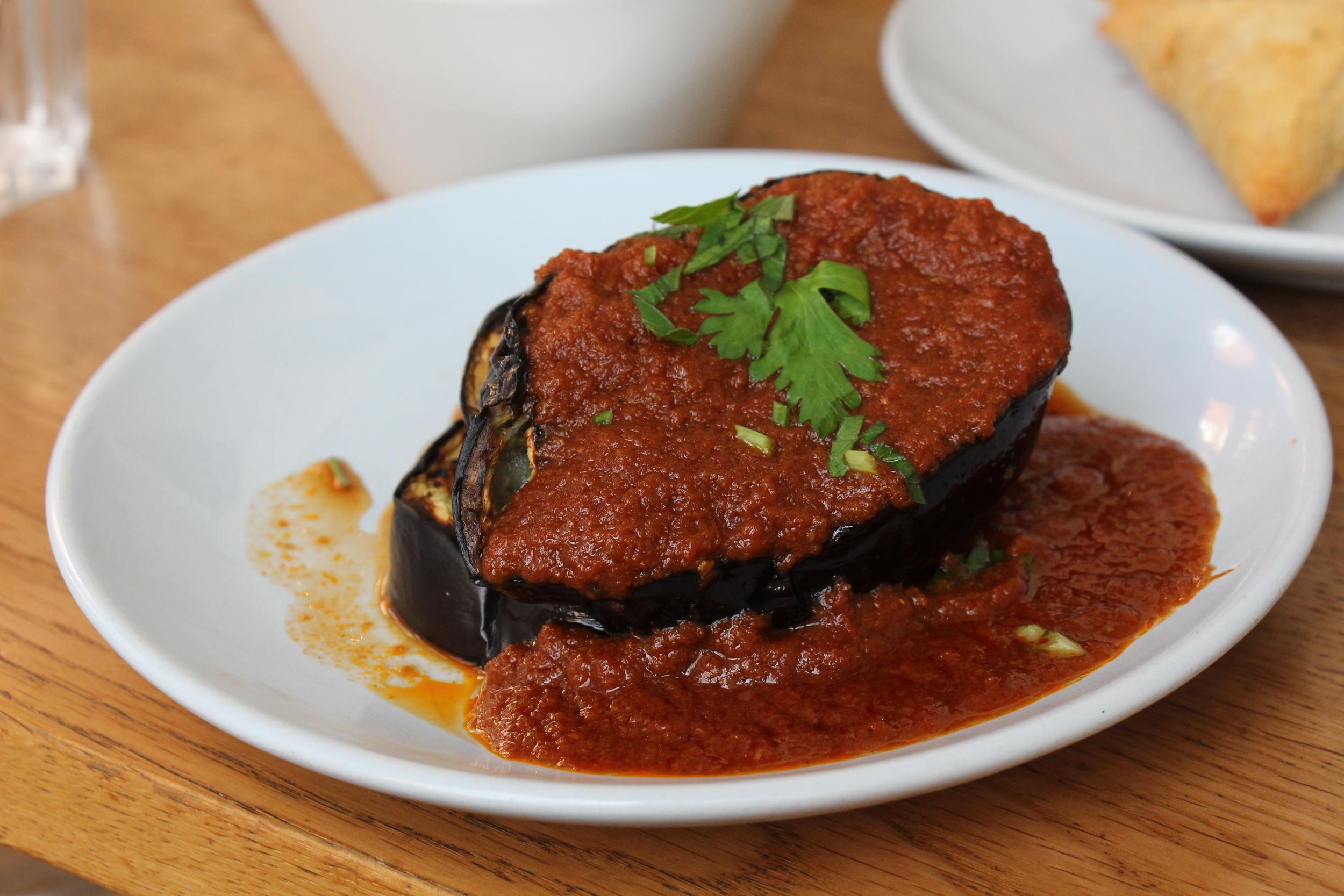 Grilled Aubergine with Garlic Tomato Sauce