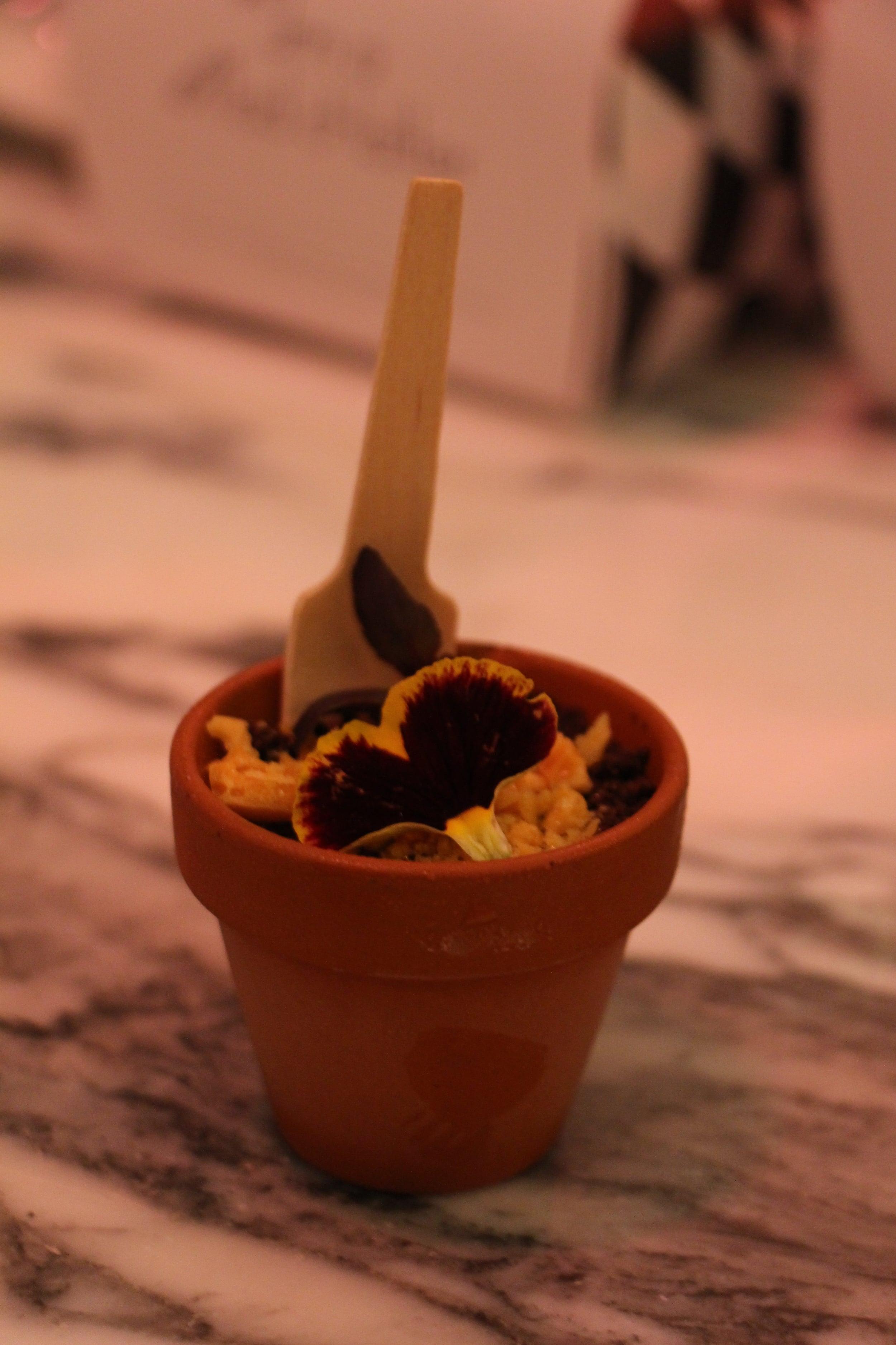 Ice cream with chocolate crumbs in a mini pot – too cute!