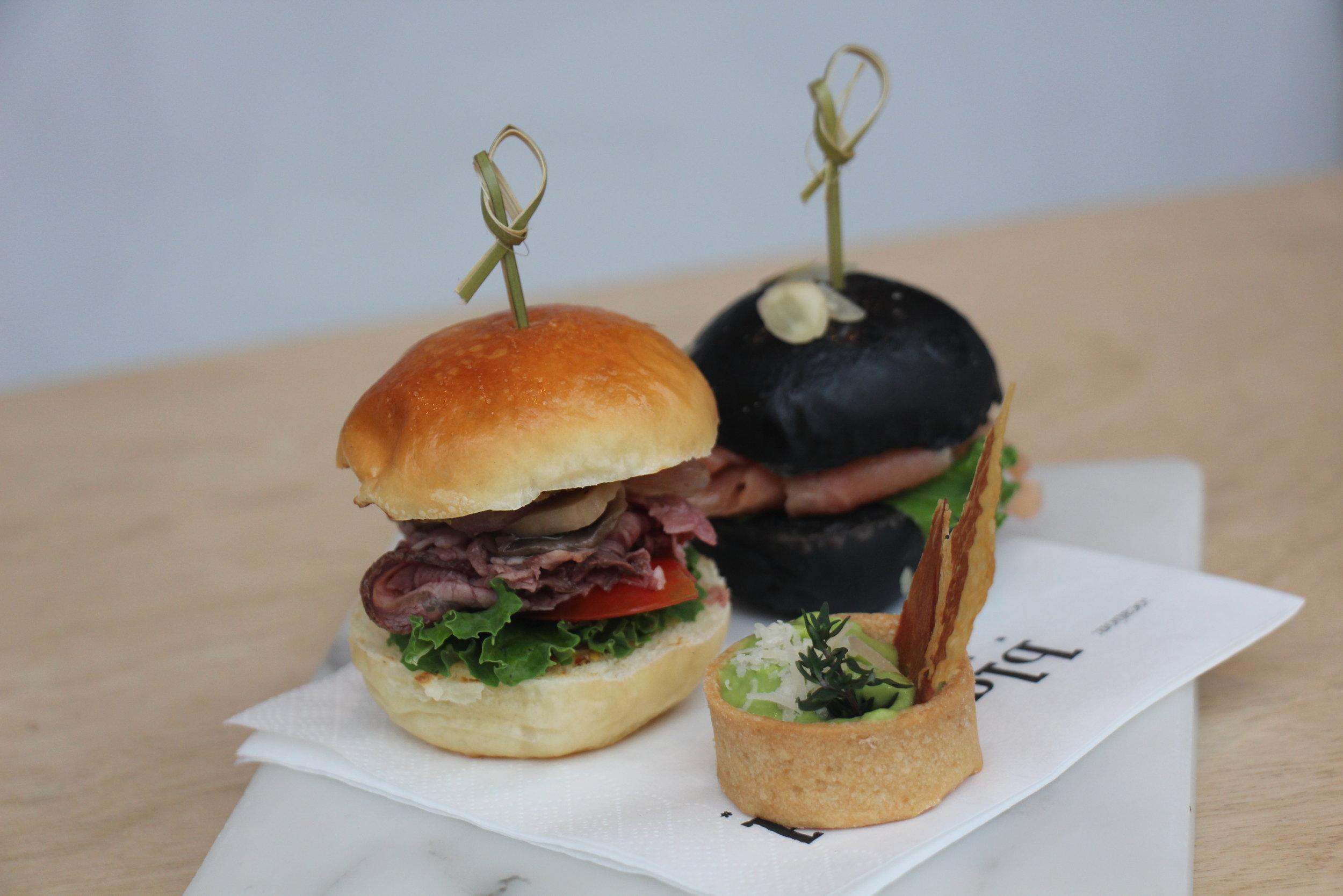 Left to right: Mini Roast Beef Burger, Mini Smoked Salmon, Thyme Pea Puree Tart with Crispy Parma Ham