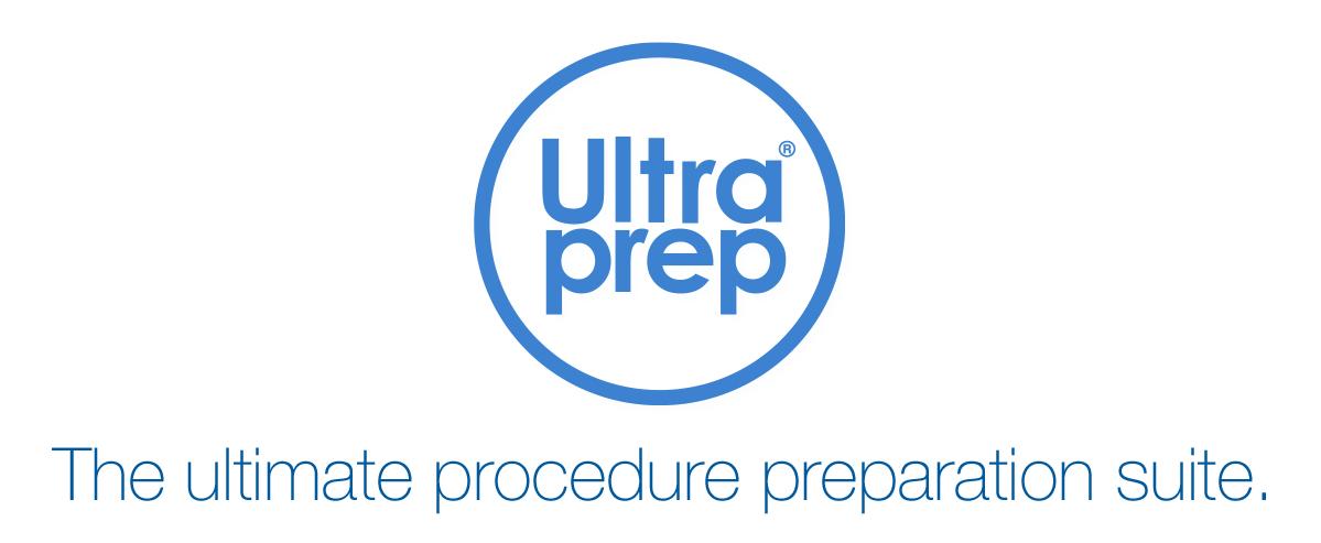 Ultraprep suite logo featuring tagline 'the ultimate procedure preparation suite'.